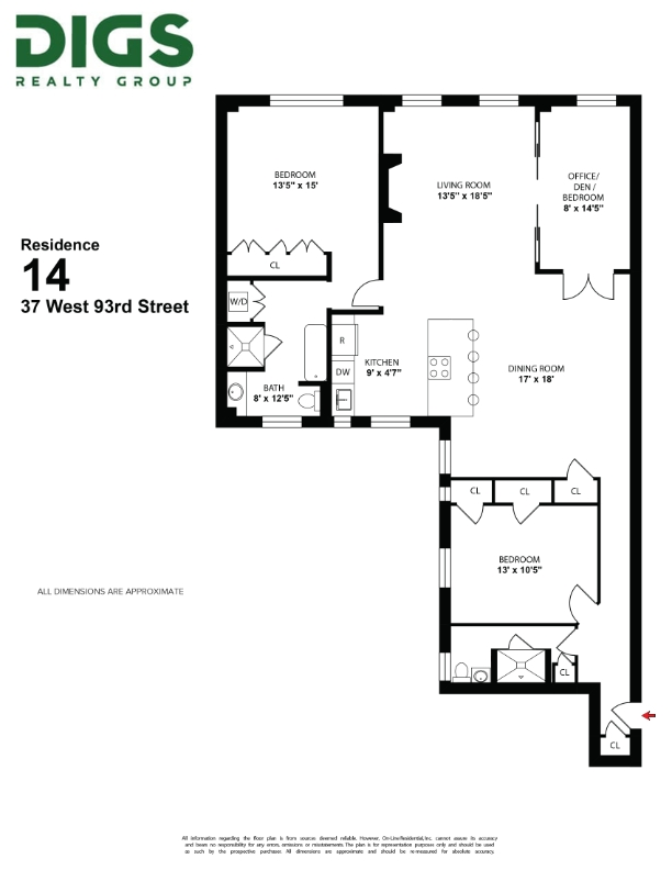 37 West 93rd, New York, NY, New York, United States 10025, 3 Bedrooms Bedrooms, ,2 BathroomsBathrooms,Co-op,IN-CONTRACT, West 93rd,4,1185